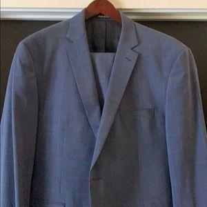 Men's blue windowpane suit